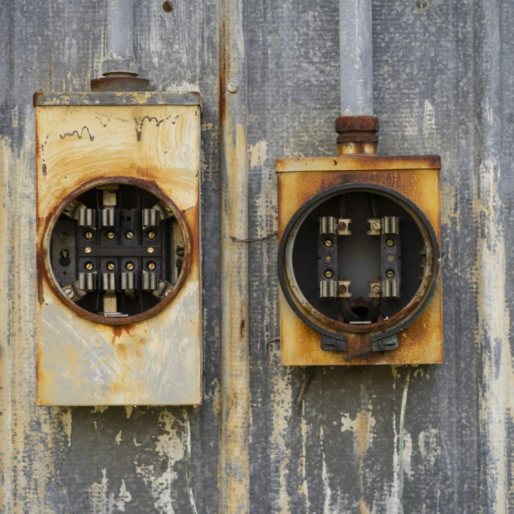 Ancient Vintage Rusted Outdoor Electrical Fuses Boxes Holders