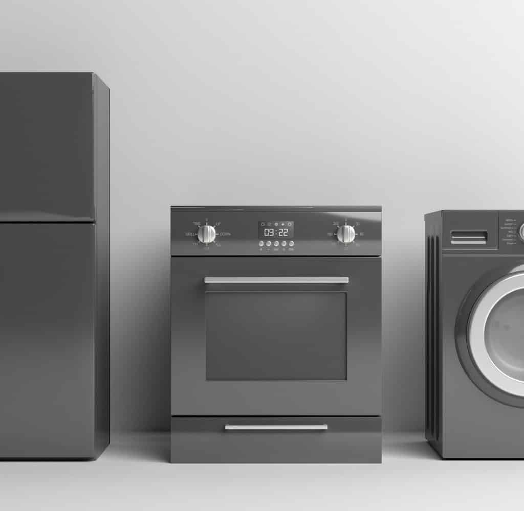 Home appliances set black color on white background. 3d illustration